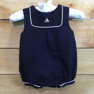 Janie and Jack Sailboat Linen Baby Boy Romper